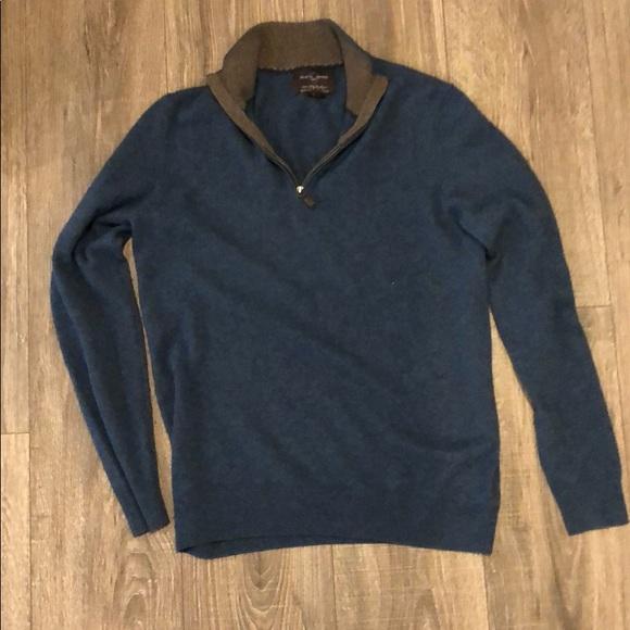 Black Brown quarter zip cashmere sweater